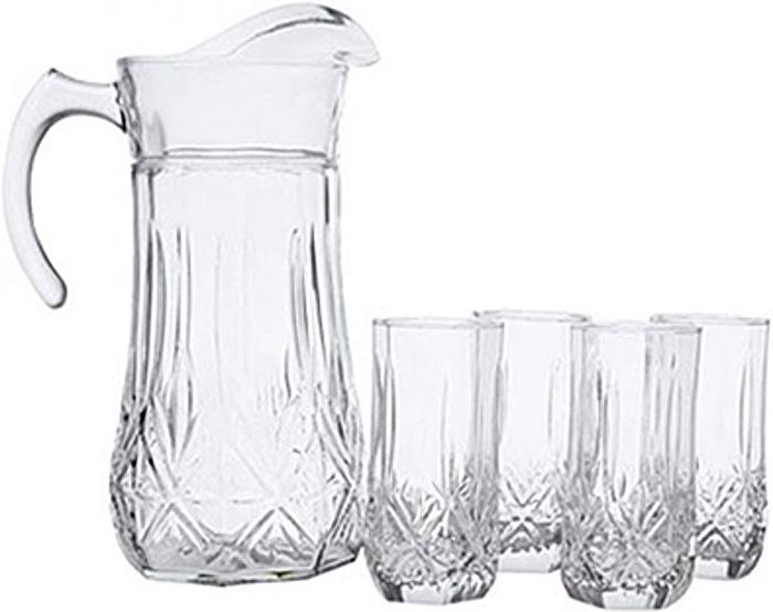 Набор питьевой Luminarc Брайтон, 7 предметов61955Набор питьевой Luminarc Брайтон состоит из 6 бокалов и графина. Изделия выполнены из высококачественного прочного стекла и оформленырельефным узором. Набор прекрасно подходит для сока, воды, лимонада и других напитков.Изделия устойчивы к повреждениям и истиранию, в процессе эксплуатации не впитывают запахии сохраняют первоначальные краски. Можно мыть в посудомоечной машине. Объем кувшина: 1,8 л.Объем стакана: 310 мл.