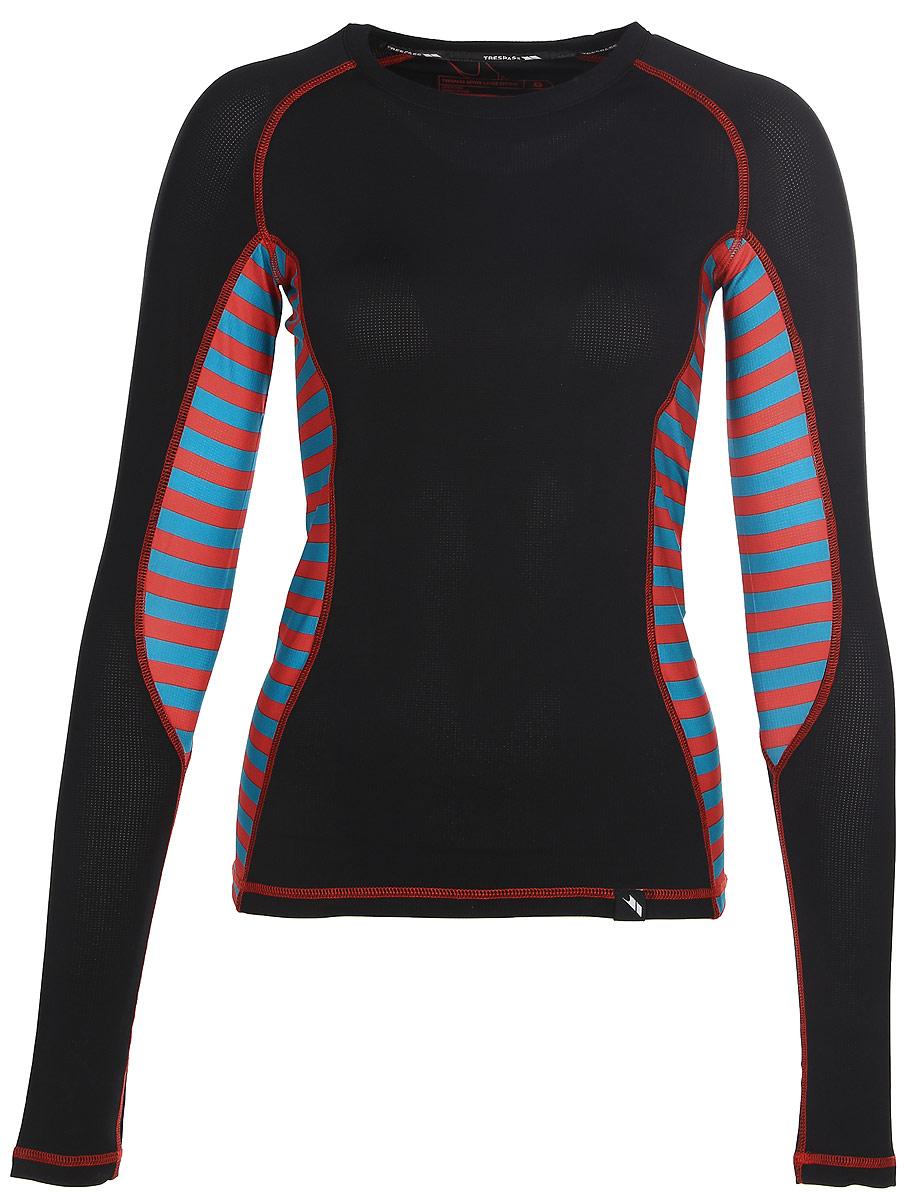 Термобелье футболка с длинным рукавом женская Trespass Arise, цвет: черный, красный, голубой. FABLTPM20007. Размер S (44)FABLTPM20007Женская футболка с длинным рукавом Trespass Arise спортивного стиля идеально подойдет для активного отдыха или тренировок. Мягкие плоские швы позволяют носить белье с комфортом. Модель с длинными рукавами и круглым вырезом горловины выполнена из эластичного полиэстера.