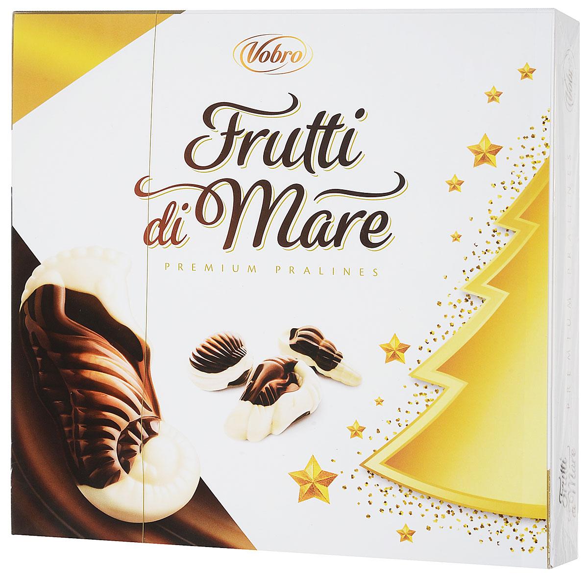 Vobro Frutti di Mare набор шоколадных конфет в виде морских ракушек, 225 г9351Frutti di Mare - это конфеты, в виде морских обитателей, из темного и белого шоколада, начиненные четырьмя начинками со вкусами: какао, ореховым, молочным и карамельным. Эти шоколадные ракушки с разным вкусом надолго оставляют приятные вкусовые впечатления, а их дополнительным достоинством является их неповторимая форма. Вместе образуют прекрасный сладкий подарок.
