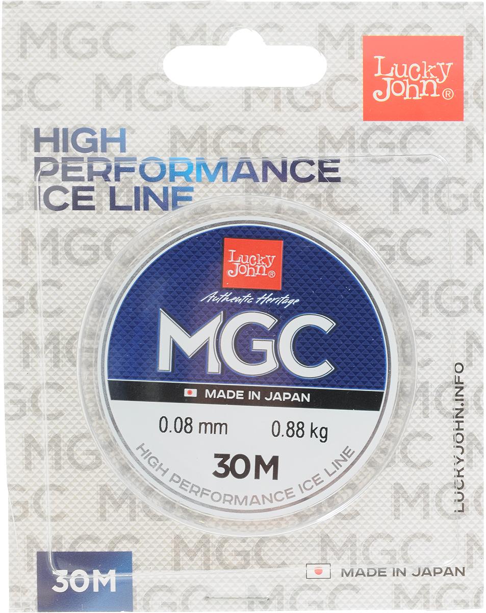 Леска зимняя Lucky John MGC, монофильная, 30 м, 0,08 м, 0,88 кг