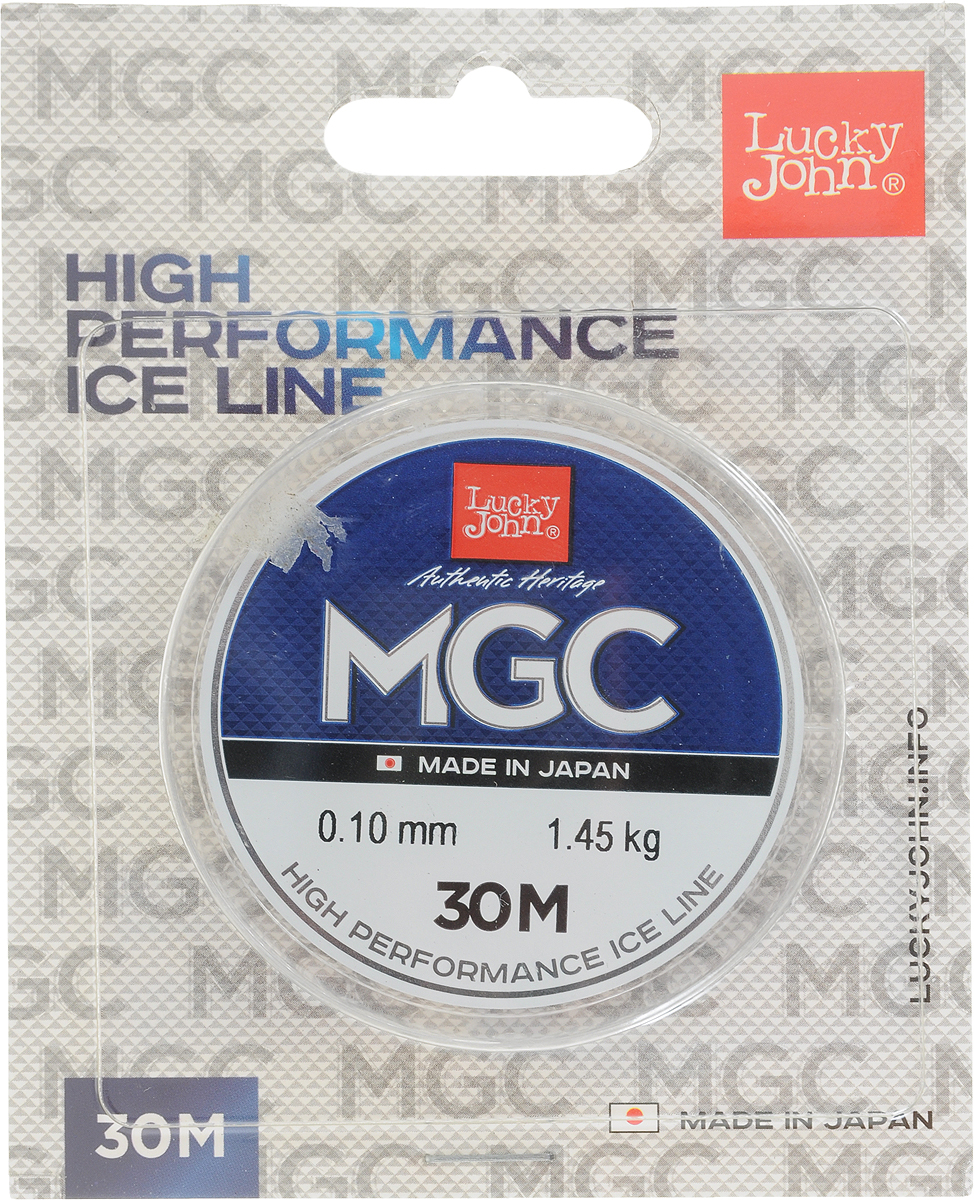 Леска зимняя Lucky John MGC, монофильная, 30 м, 0,10 мм, 1,45 кг