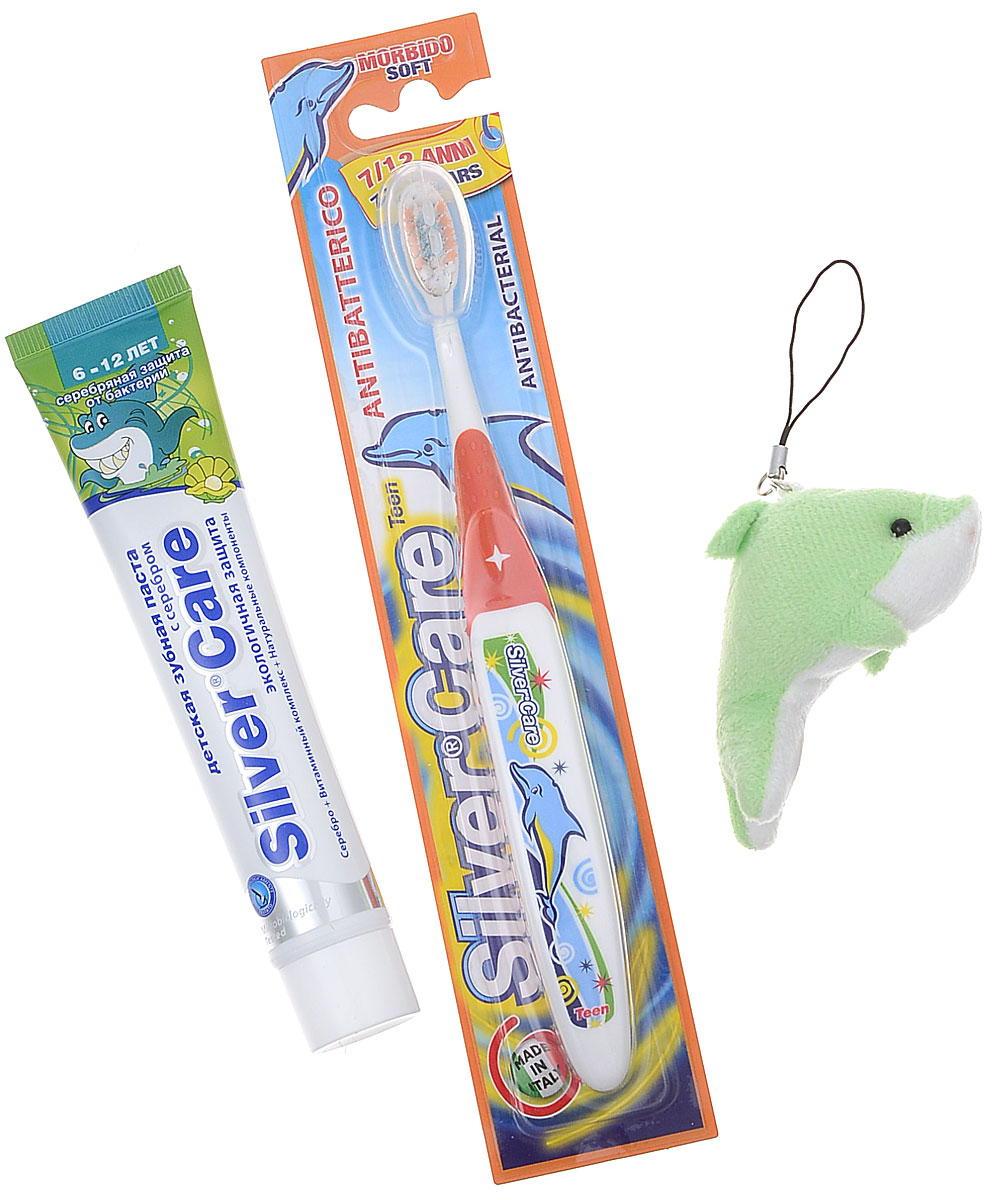 Silver Care Стоматологический набор для детей от 6 до 12 лет Мятный микс цвет щетки оранжевый косметические наборы для ухода silver care набор зубных щёток silver care plus жест