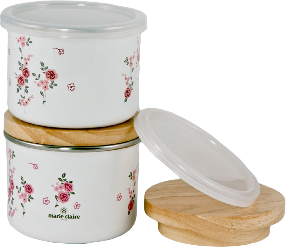 Набор банок для сыпучих продуктов Fuji Horo Мари Клер, с крышками, цвет: розовый, 0,4 л, 2 штMCR-151