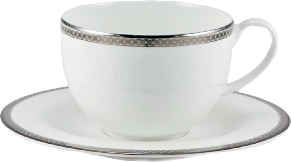 Набор чайных пар Royal Bone China Серебрянная вышивка, 220 мл, 6 шт сливочник 250 мл white royal bone china сливочник 250 мл white
