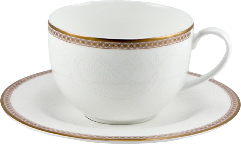 Набор чайных пар Royal Bone China Золотая вышивка, 220 мл, 6 шт8946/12121