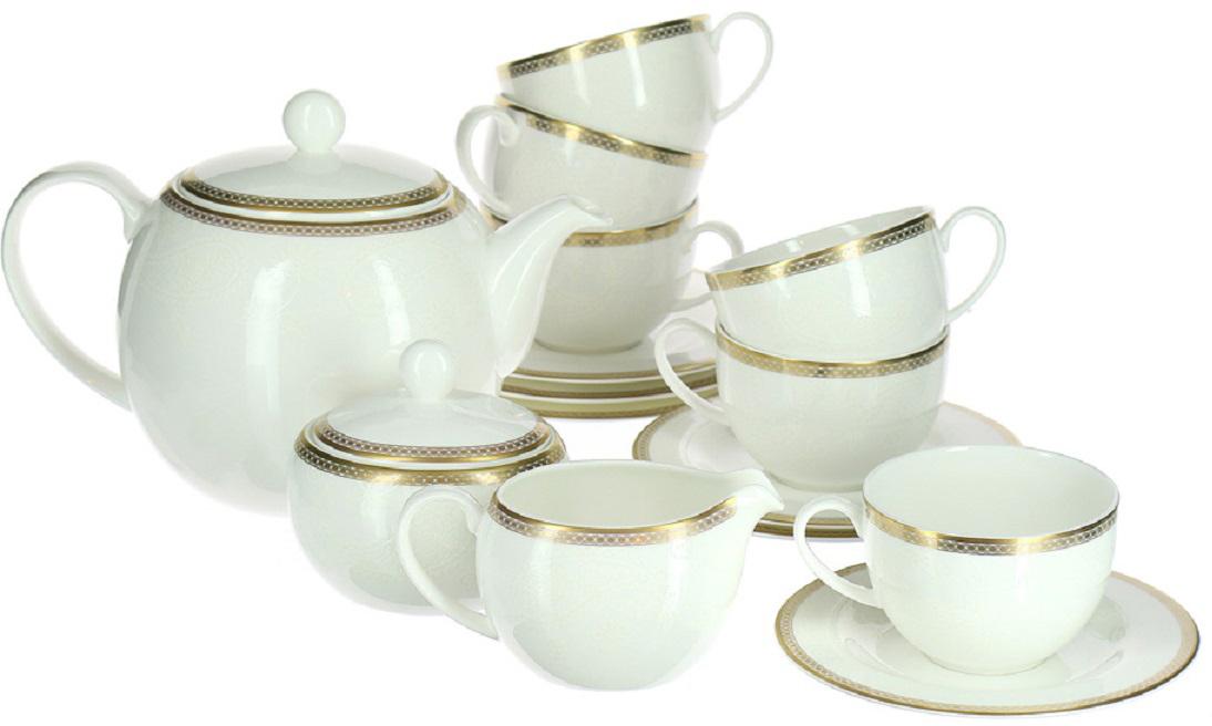 Сервиз чайный Royal Bone China Золотая вышивка, 17 предметов8946/17039