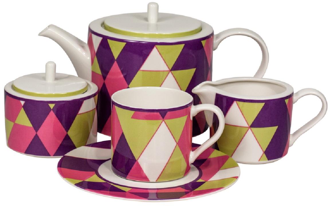 Сервиз чайный Royal Bone China Минотти, цвет: фиолетовый, 17 предметов9029/17106