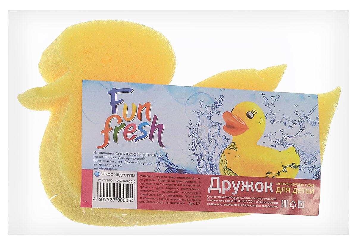 Fun Fresh Губка детская Дружок. Утка, цвет: желтый1. 7_утка/желтыйДетская губка для тела Fun Fresh Дружок. Утка, выполненная из поролона, подходит для нежной и чувствительной кожи ребенка. Она поможет бережно и тщательно ухаживать за детской кожей, превращая процесс купания в увлекательную игру, ведь она выполнена в форме утки.