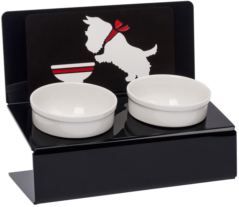 Миска для животныx Artmiska  Щенок и миска , двойная, на подставке, цвет: черный, 2 x 350 мл - Аксессуары для кормления