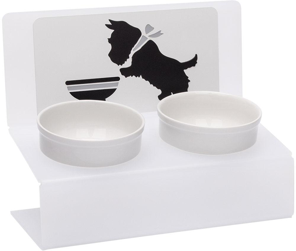Миска для животныx Artmiska  Щенок и миска , двойная, на подставке, цвет: белый, полупрозрачный, 2 x 350 мл - Аксессуары для кормления