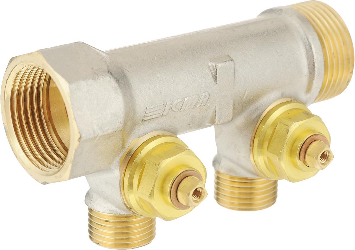 Коллектор для водоснабжения ICMA, 1 х 2 выхода 1/287227PG06Простой сборный коллектор с отсекающими кранами ICMA предназначен для распределения потока в системах водоснабжения. Регулирующие ручки коллекторов снабжены диском. Коллекторы изготовлены из латуни со специальным покрытием, которое обеспечивает долгий срок службы. Сантехнический регулирующий коллектор соответствует условиям эксплуатации оборудования для водоснабжения: содержание свинца в питьевой воде, прошедшей по арматуре, соответствует нормам, рекомендованным Всемирной организацией здравоохранения. Головные присоединения 3/4 gas и 1 gas. Боковые выходы с резьбой 1/2 gas. Шаг боковых выходов 37,5 мм для размера 3/4 и 50 мм для размера 1.Размер головного подключения: 1. Резьба боковых выходов: 1/2.Количество выходов: 2.