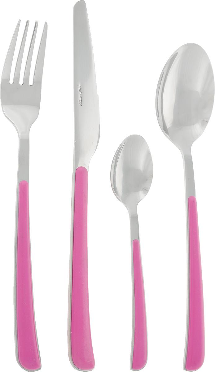 Набор столовых приборов BartonSteel, цвет: розовый, стальной, 24 предмета. 8424BS8424BSНабор столовых приборов Barton Steel включает 6 столовых ножей, 6 столовых ложек, 6 столовых вилок, 6 чайных ложек. Приборы выполнены из высококачественной нержавеющей стали и снабжены пластиковыми ручками. Прекрасное сочетание свежего дизайна и удобство использования предметов набора придется по душе каждому.Набор столовых приборов Barton Steel подойдет для сервировки стола как дома, так и на даче и всегда будет важной частью трапезы, а также станет замечательным подарком.Длина ножей: 23 см.Длина столовых ложек: 20,5 см.Длина вилок: 20,5 см.Длина чайных ложек: 15 см.