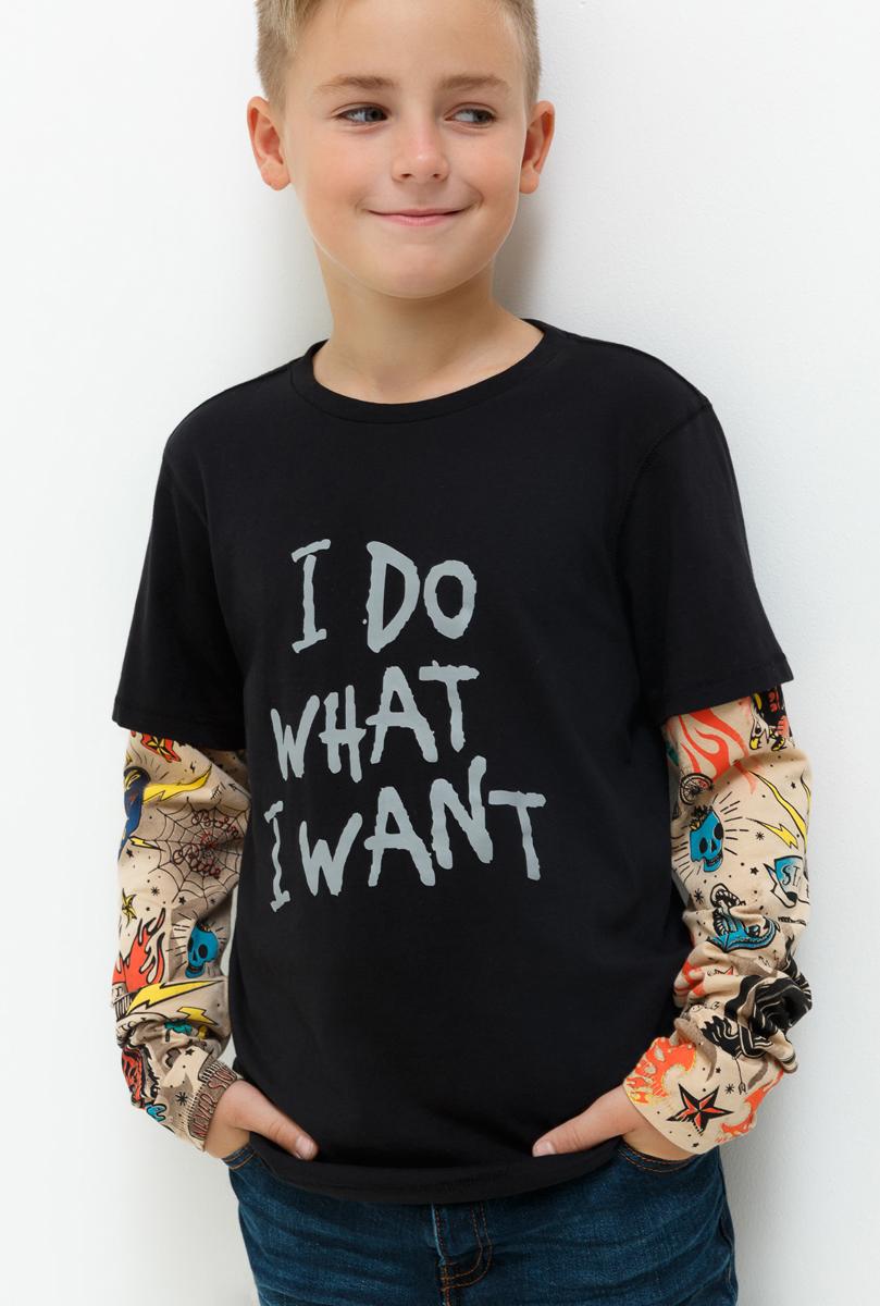 Джемпер для мальчика Acoola Teramo, цвет: черный. 20110100112_100. Размер 15820110100112_100Джемпер для мальчика Acoola идеально подойдет вашему маленькому моднику. Изготовленный из хлопка, он необычайно мягкий и приятный на ощупь, не сковывает движения, обеспечивая наибольший комфорт. Модель с длинными рукавами и круглым вырезом горловины оформлена на рукавах принтом и спереди стильной надписью. Вырез горловины дополнен трикотажной эластичной резинкой.