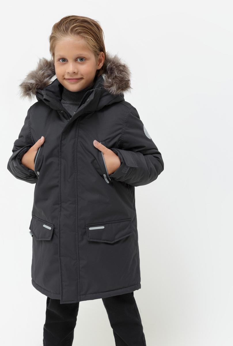 Куртка для мальчика Acoola Martin, цвет: темно-серый. 20110130113_2000. Размер 16420110130113_2000Куртка для мальчика Acoola станет ярким дополнением к детскому гардеробу. Куртка изготовлена из полиэстера. Куртка с капюшоном и воротником-стойкой застегивается на молнию и имеет внешнюю ветрозащитную планку. На рукавах предусмотрены небольшие хлястики на липучке. Спереди имеются два прорезных кармашка на молнии и два накладных кармана с клапанами на липучках. Капюшон дополнен меховой опушкой. На изделии предусмотрены светоотражающие элементы для безопасности ребенка в темное время суток.