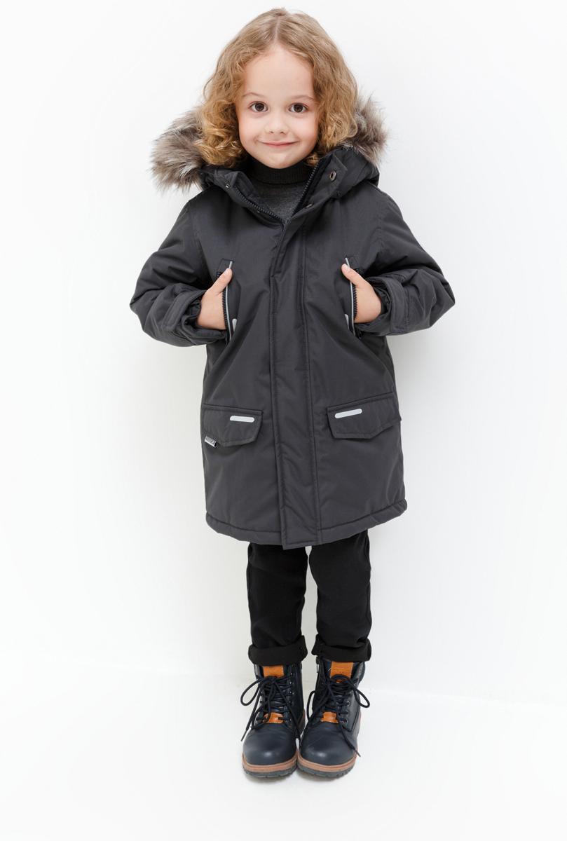 Куртка для мальчика Acoola Martin, цвет: темно-серый. 20120130098_2000. Размер 11620120130098_2000Куртка для мальчика Acoola станет ярким дополнением к детскому гардеробу. Куртка изготовлена из полиэстера. Куртка с капюшоном и воротником-стойкой застегивается на молнию и имеет внешнюю ветрозащитную планку. На рукавах предусмотрены небольшие хлястики на липучке. Спереди имеются два прорезных кармашка на молнии и два накладных кармана с клапанами на липучках. Капюшон дополнен меховой опушкой. На изделии предусмотрены светоотражающие элементы для безопасности ребенка в темное время суток.