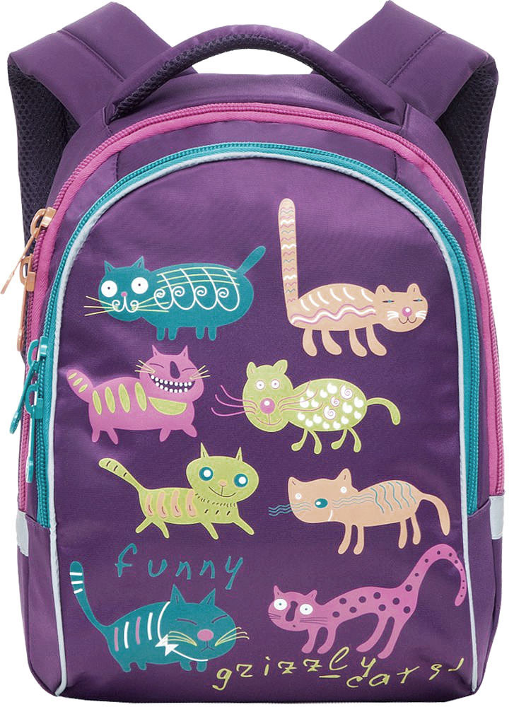 Grizzly Рюкзак детский Коты цвет фиолетовыйRG-657-4/3Детский рюкзак Коты - это красивый и удобный рюкзак, который подойдет всем, кто хочет разнообразить свои школьные будни. Рюкзак выполнен из плотного материала и оформлен оригинальным принтом с цветными забавными котиками. Рюкзак имеет два основных отделения, закрывающиеся на молнии. Одно из отделений содержит открытый накладной карман и три кармашка для канцелярских принадлежностей.Рюкзак оснащен удобной ручкой для переноски и светоотражающими элементами.Широкие регулируемые лямки и сетчатые мягкие вставки на спинке рюкзака предохранят мышцы спины ребенка от перенапряжения при длительном ношении. Многофункциональный детский рюкзак станет незаменимым спутником вашего ребенка.