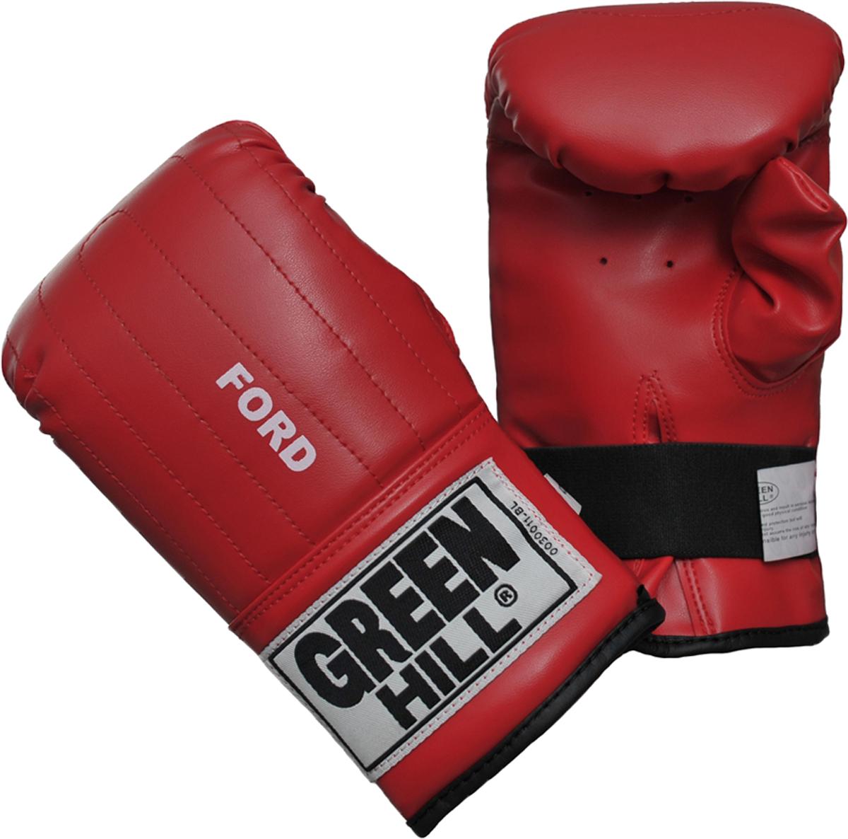 """Перчатки снарядные Green Hill Ford, цвет: красный. PMF-2068. Размер XLPMF-2068Снарядные перчатки """"Ford"""" («блинчики»). Недорогие снарядные перчатки для отработки ударов. Подойдут для домашнего использования и для начинающих спортсменов. Выполнены из иск.кожи, манжет на резинке. Размеры:Замерьте обхват ладони сантиметровой лентой в наиболее широком месте, исключив при этом большой палец рукиРазмер: S M L XLОбхват ладони, см. 17-18 18-19 19-22 23-27"""