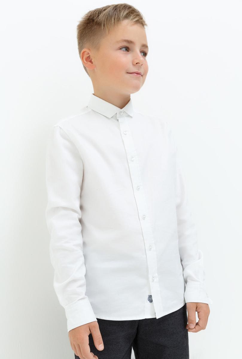 Рубашка для мальчика Acoola Claus, цвет: белый. 20110280058_200. Размер 15820110280058_200Рубашка для мальчика Acoola выполнена из натурального хлопка. Модель с классическим отложным воротником и длинными рукавами застегивается на пуговицы.