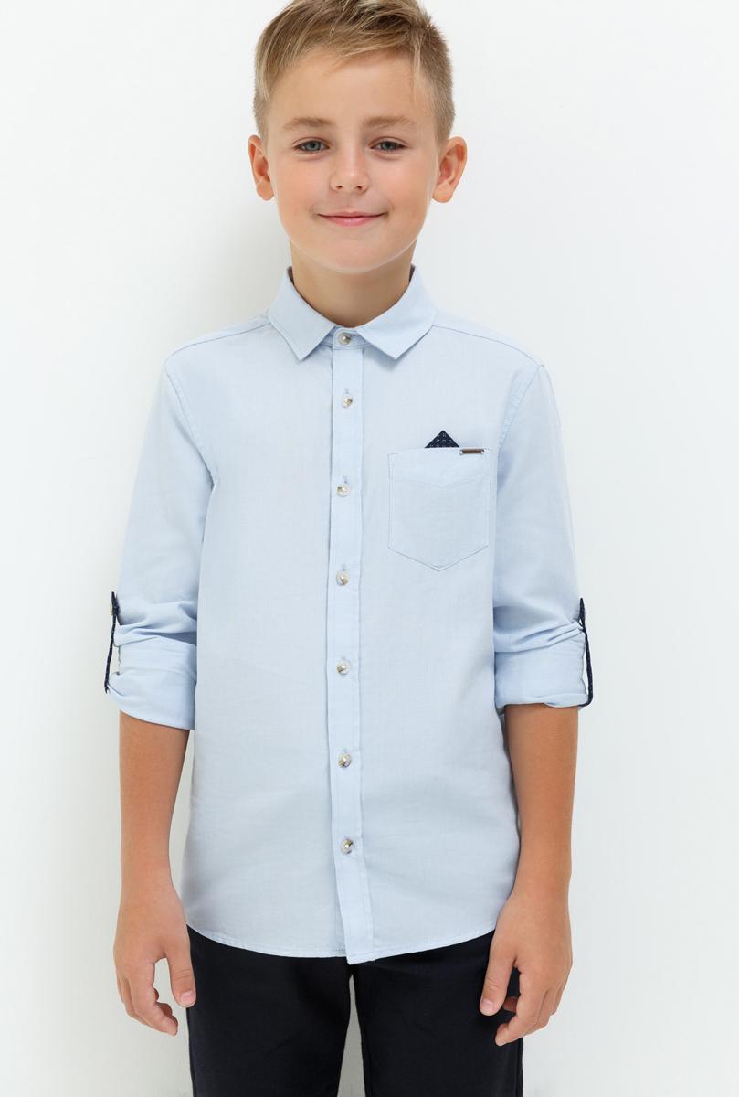 Рубашка для мальчика Acoola Gilbert, цвет: голубой. 20110280059_400. Размер 15220110280059_400Рубашка для мальчика Acoola выполнена из натурального хлопка. Модель с классическим отложным воротником и длинными рукавами застегивается на пуговицы, на груди дополнена накладным карманом.
