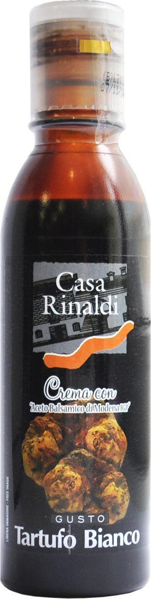 Casa Rinaldi Крем бальзамический со вкусом белого трюфеля, 150 мл0.0106.0494Концентрированное виноградное сусло, уксус бальзамический из Модены I.G.P. 20%. Идеально подходит для гарнира, мяса, рыбы, овощей, мороженного, ягод. Хранить при t не выше +25С.