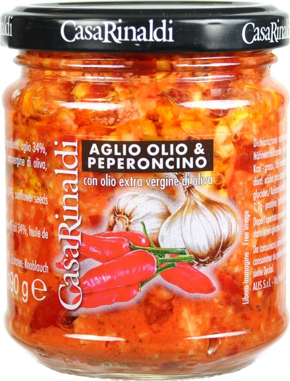 Casa Rinaldi Соус с чесноком маслом острым перцем, 190 г casa rinaldi маслины гигантские bella di cerignola ggg dop 590 г