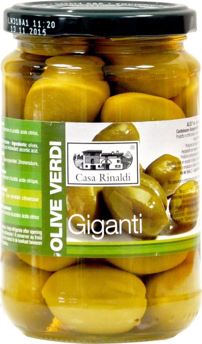 Casa Rinaldi Оливки гигантские Bella di Cerignola GGG, 310 г оливки чёрные pikarome с косточкой в рассоле 3 2 кг