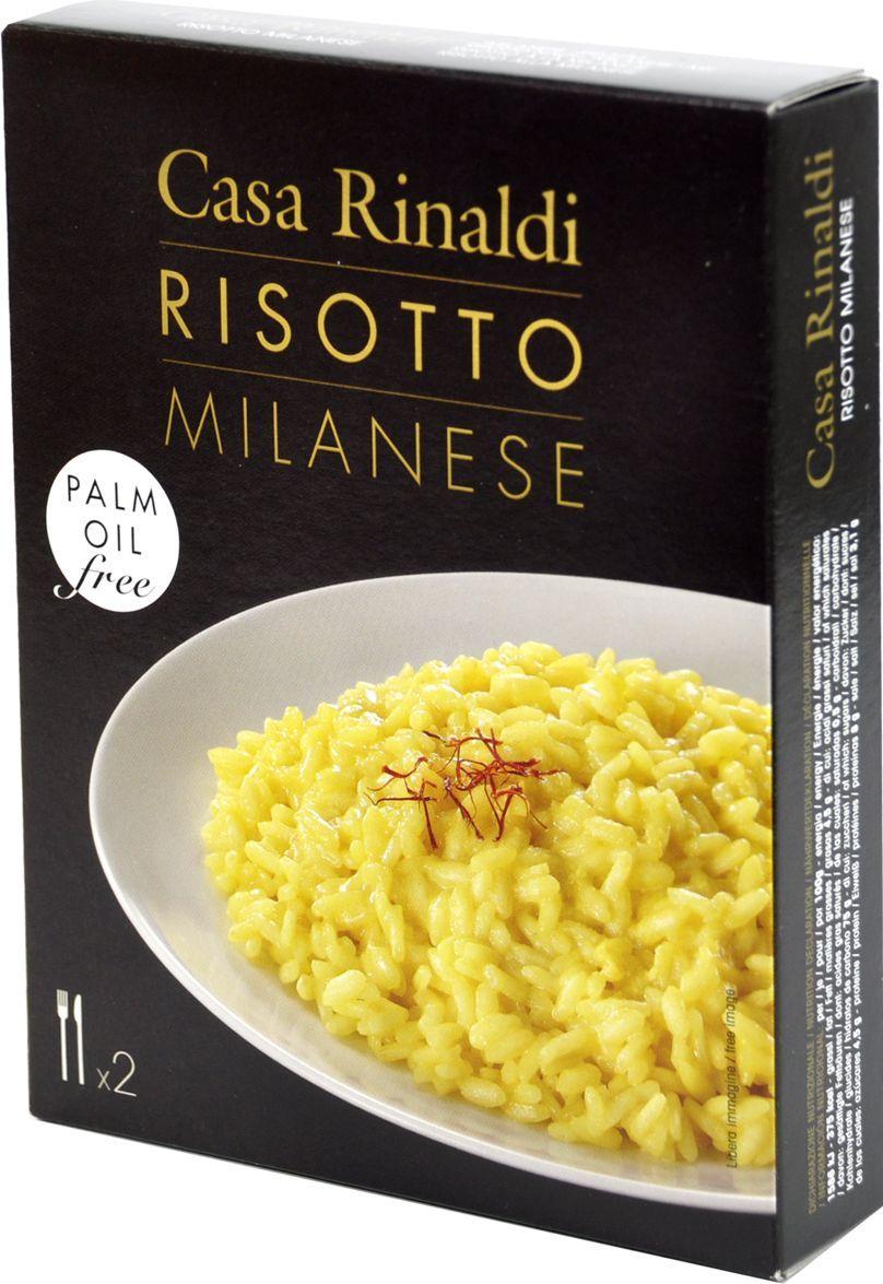 Casa Rinaldi Ризотто с овощами по-милански, 175 г0.1354.0203Для готового ризотто Casa Rinaldi используется круглый богатый крахмалом рис сорта Карнароли (который считается идеальным для ризотто). Рис предварительно обжаривают на оливковом или сливочном масле. После, в рис постепенно доливают кипящий бульон, либо обычную воду и тушат при постоянном помешивании. Затем добавляют грибы, овощи или просто специи. К любому ризотто можно добавить рис пармезан.Лайфхаки по варке круп и пасты. Статья OZON Гид