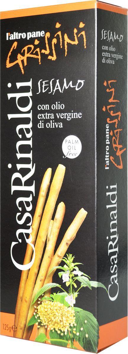 Casa Rinaldi Хлебные палочки Гриссини с кунжутом, 125 г casa rinaldi рис арборио среднезерный 500 г