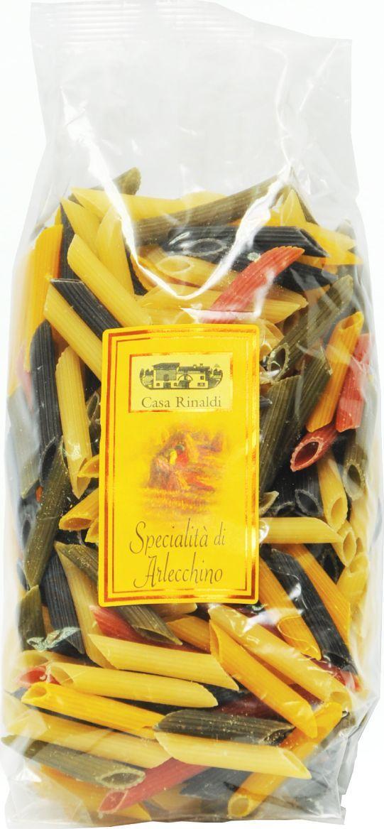 Casa Rinaldi Паста цветная Пенне Арлекино трубочки, 500 г casa rinaldi паста пенне без глютена из кукурузной и рисовой муки 500 г