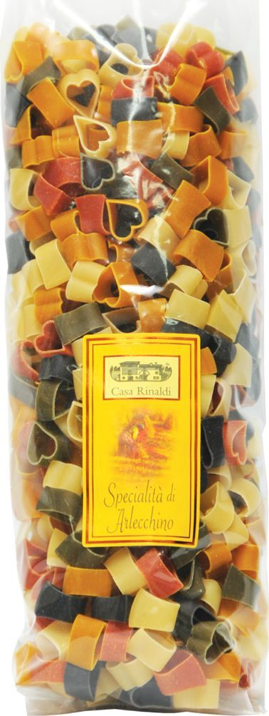 Casa Rinaldi Паста цветная Сердечки Арлекино, 500 г casa rinaldi паста лингвини из непросеянной муки 500 г