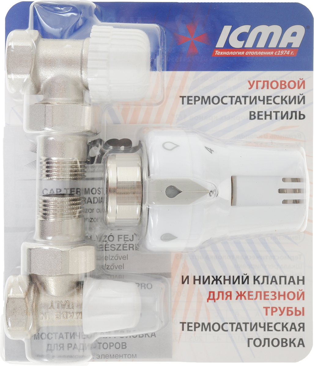 """Комплект термостатический на радиатор """"ICMA"""" состоит из углового вентиля  для железной трубы, углового нижнего запорного клапана для железной трубы,  термостатической головки. Размер радиаторных кранов 1/2"""". Корпус изделий  выполнен из латуни, шток запорного механизма изготовлен из нержавеющей  стали, ручка выполнена из белого ABS пластика.  Комплект предназначен для регулирования теплового режима отопительного  прибора путем изменения количества теплоносителя от нуля до величины,  которая определена вентилем. Такой принцип позволяет производить плавную  регулировку и снижать шумы, возникающие в системе отопления при движении  теплоносителя.  Благодаря такому комплекту стало возможным автоматическое поддержание  заданной комнатной температуры, что обеспечивает комфортные условия  проживания и существенную экономию расхода топлива.  Вентиль и клапан: Дифференциальное давление: 1 bar.  Рабочее давление: 10 bar.  Температура: 90°С. Термостатическая головка: Шкала регулировки: 0-5.  Регулировка температуры: 0-28°С. Функция """"Антизамерзание"""": 7°С. Температура в помещении: 50°С."""