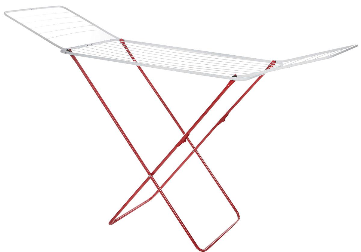Сушилка для белья Gimi Jolly, напольная, цвет: белый, красный, 180 x 55 x 93 см8001244400030_красный, белыйНапольная сушилка для белья Gimi Jolly проста и удобна в использовании, компактно складывается, экономя место в вашей квартире. Сушилку можно использовать на балконе или дома. Она оснащена складными створками для сушки одежды во всю длину. Имеет специальные пластиковые крепления на основание стойки, которые не царапают пол. Размер сушилки: 180 х 55 х 93 см.Общая длина реек: 18 м.