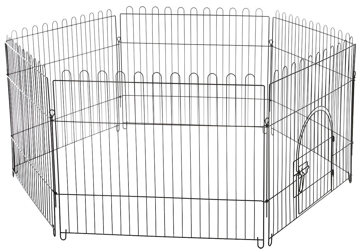 Вольер для животных Triol шестисекционный, цвет: черный, 84 х 69 смK3_черныйВольер для животных Triol, выполненный из металла, состоит из 6 секций. Одна из секций снабжена металлической дверцей с надежным запором-задвижкой, дверца открывается на 180 градусов, плотно прижимаясь к стенке. Конструкция отличается надежностью, секции соединены между собой при помощи металлических скоб.Подходит для дома, дачи, для выгула собак и щенков на улице. Из секций можно собрать ограждение любой формы для вашего животного. Размер одной секции (Ш х В): 84 см х 69 см.