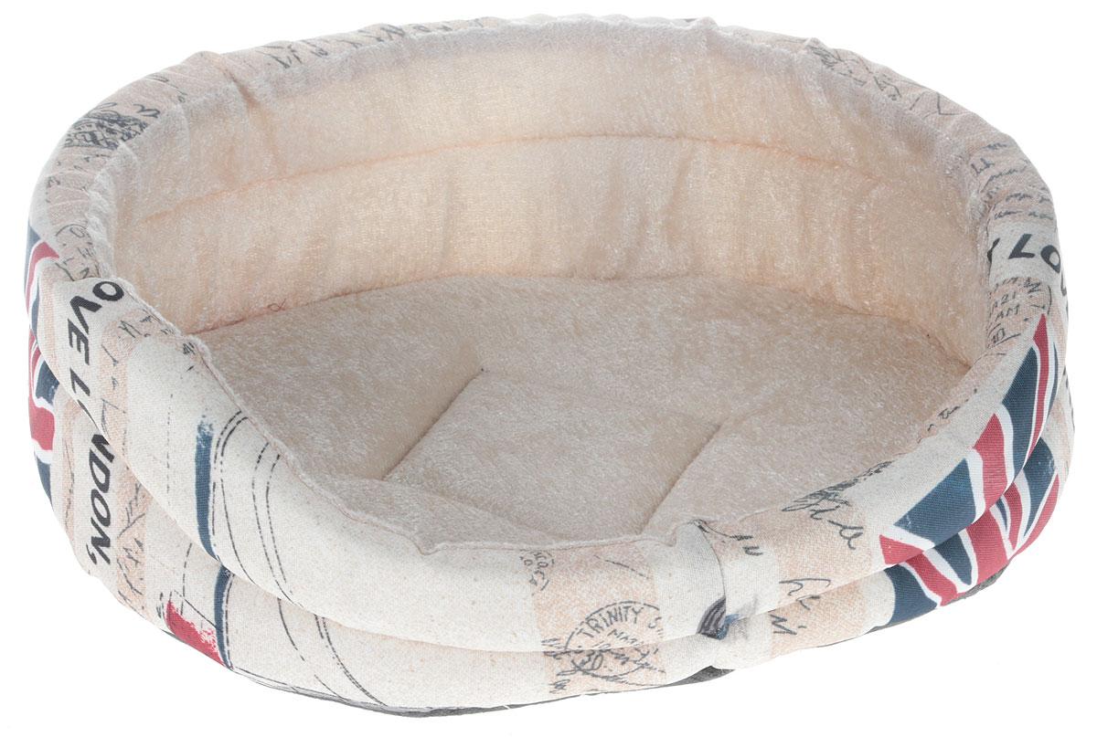 Лежак для животных GLG Малютка. Лондон, 37 х 30 х 11 смL005/A_светло-бежевый, ЛондонМягкий лежак GLG Малютка обязательно понравится вашему питомцу. Он выполнен из высококачественных материалов, которые не теряют своей формы долгое время. Внешний материал дополнен оригинальным принтом в стиле Лондона, внутренняя плюшевая поверхность мягкая и приятная на ощупь. В качестве наполнителя используется поролон, который отлично держит форму лежака. Высокие бортики обеспечат вашему любимцу уют. Мягкий лежак станет излюбленным местом вашего питомца, подарит ему спокойный и комфортный сон, а также убережет вашу мебель от шерсти.