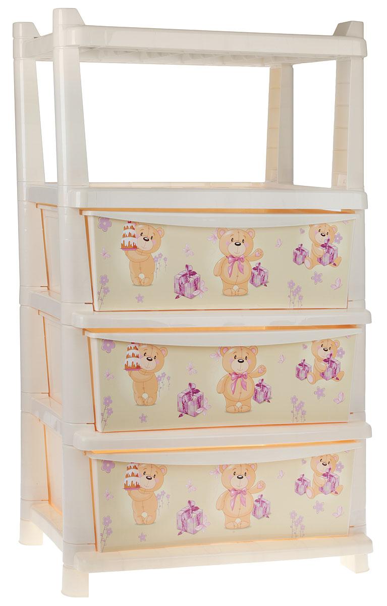 Little Angel Комод детский Bears 3 ящика -  Товары для хранения
