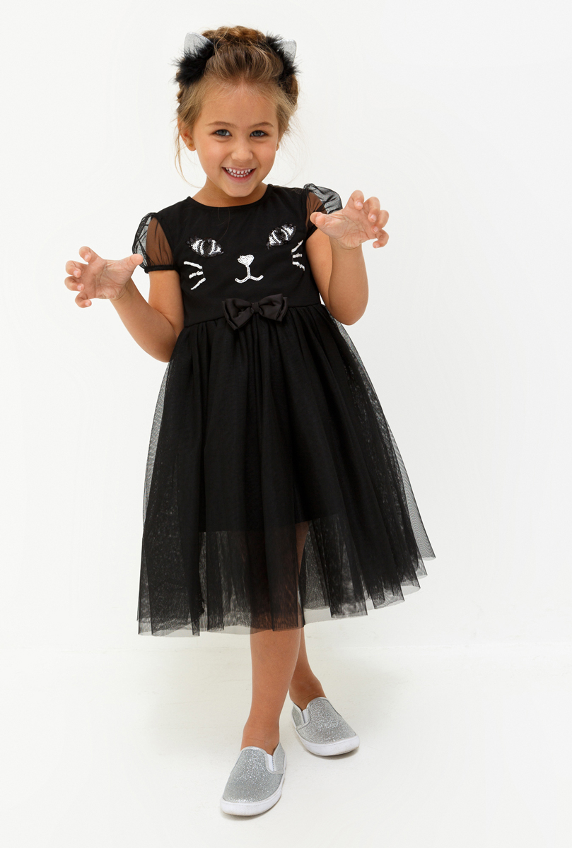 Платье для девочки Acoola Kitkat, цвет: черный. 20220200222_100. Размер 11620220200222_100