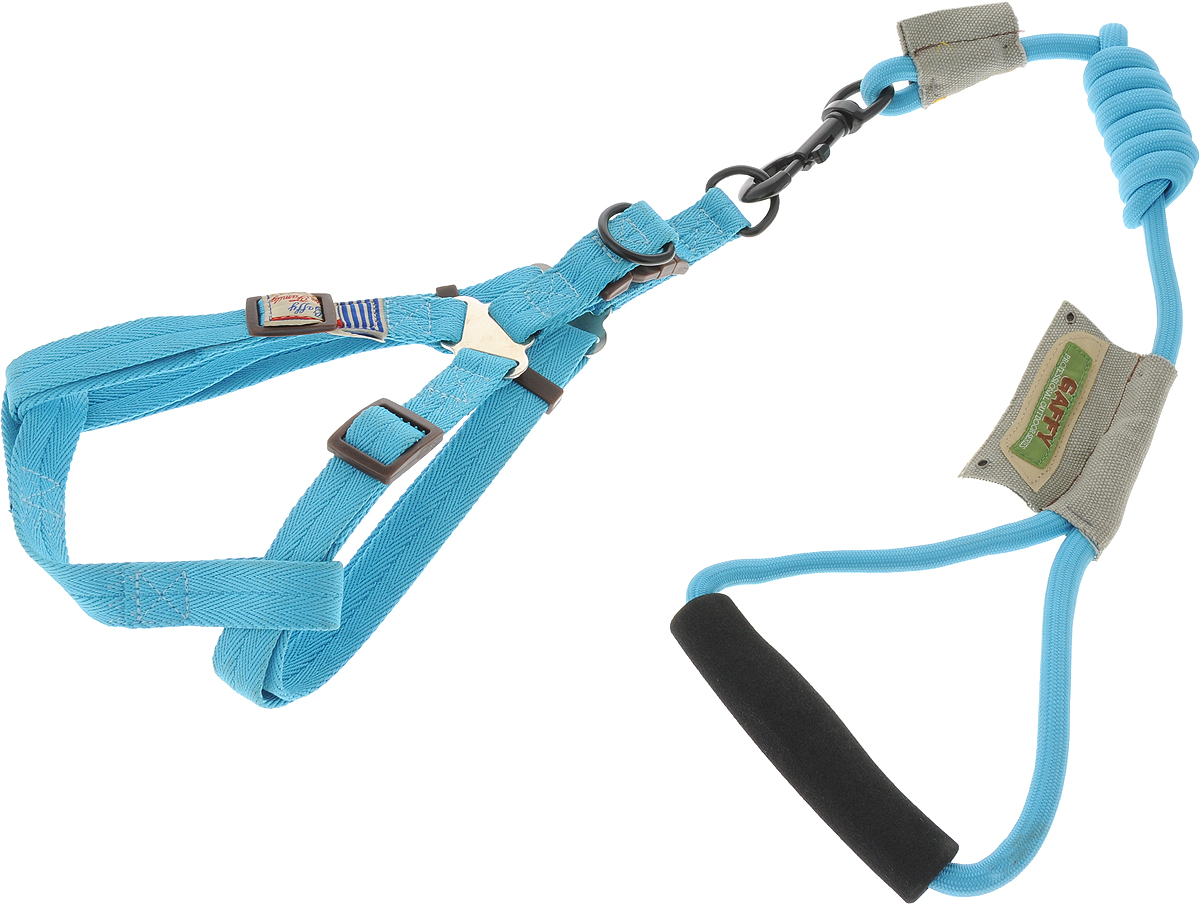 Шлейка для собак Gaffy Pet  Round , с поводком, цвет: голубой. Размер М - Товары для прогулки и дрессировки (амуниция)