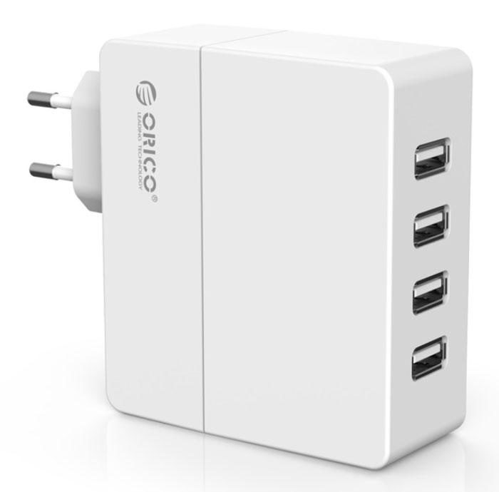Orico DCA-4U, White сетевое зарядное устройствоORICO DCA-4U-WHORICO DCA-4U способен самостоятельно определить подключённое к нему устройство и подобрать лучшие выходные параметры силы тока и напряжений для быстрой и безопасной зарядки (1А и 2,4А). ORICO DCA-4U справится с зарядкой четырёх устройств с силой тока до 2,4А. Благодаря качественным электронным компонентам КПД составляет 85%. ORICO DCA-4Uоборудовано защитой от перегрева, короткого замыкания, перезарядки и превышения мощность зарядки. ХарактеристикиТип устройства Блок питанияМатериал корпуса ABS пластикИсточник питания Сеть 220ВВыходы USB USB Type AКоличество выходов USB 4Защита от скачков напряженияЗащита от короткого замыканияЗащита от перегреваЗащита от перегрузкиЗащита от излишней зарядки