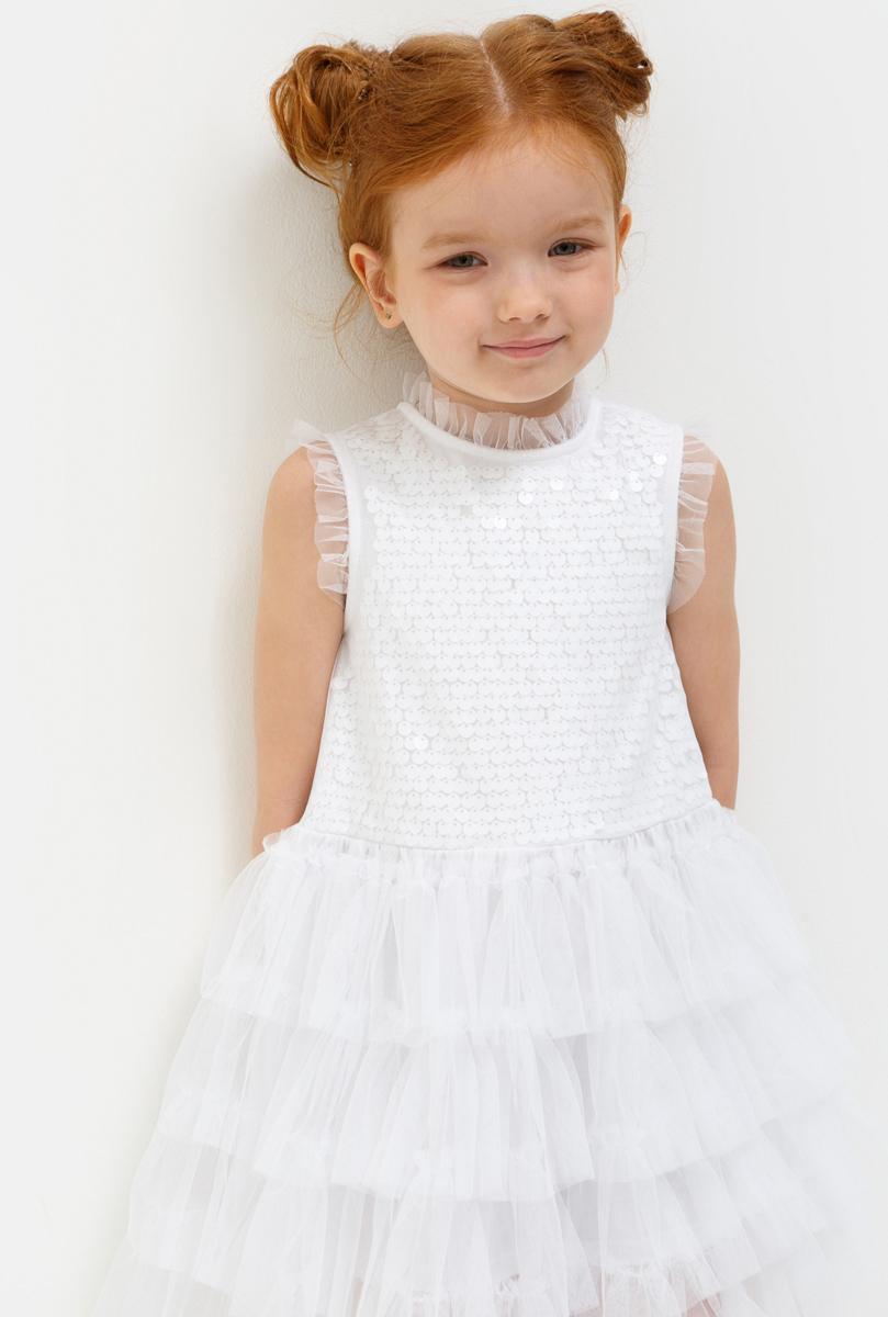 Платье для девочки Acoola Terravita, цвет: белый. 20220200221_200. Размер 11020220200221_200Стильное платье Acoola идеально подойдет вашей дочурке. Платье выполнено из полиэстера с подкладкой из эластана и хлопка. Платье без рукавов и круглым вырезом горловины дополнено пайетками. Модель застегивается на пуговицу, расположенную на спинке.