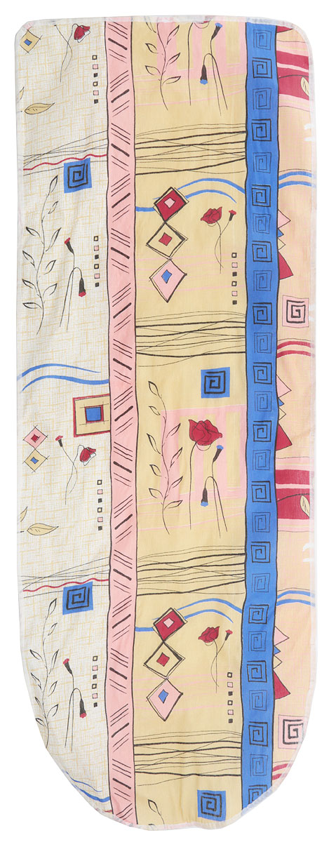 Чехол для гладильной доски Detalle, цвет: желтый, красный, синий, 125 х 47 см. Е1301Е1301Чехол для гладильной доски Detalle, выполненный из хлопка с подкладкой из мягкого войлокообразного полотна (ПЭФ), предназначен для защиты или замены изношенного покрытия гладильной доски. Чехол снабжен стягивающим шнуром, при помощи которого вы легко отрегулируете оптимальное натяжение чехла и зафиксируете его на рабочей поверхности гладильной доски.Из войлокообразного полотна вы можете вырезать подкладку любого размера, подходящую именно для вашей доски.Этот качественный чехол обеспечит вам легкое глажение. Он предотвратит образование блеска и отпечатков металлической сетки гладильной доски на одежде. Войлокообразное полотно практично и долговечно в использовании.Размер чехла: 125 см x 47 см.Максимальный размер доски: 120 см х 42 см.