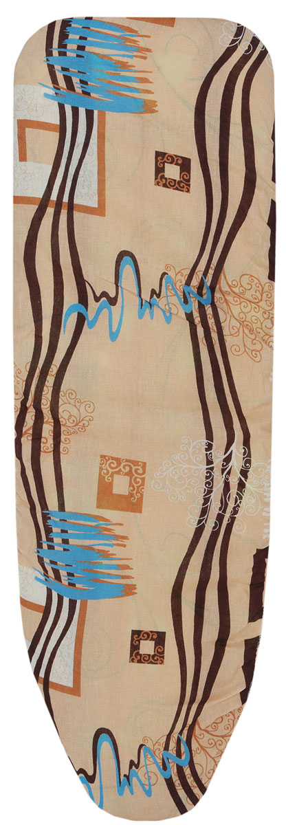 Чехол для гладильной доски Eva, с поролоном, цвет: бежевый, голубой, темно-коричневый, 119 х 37 см чехол для рукава гладильной доски leifheit цвет голубой 52 х 12 см
