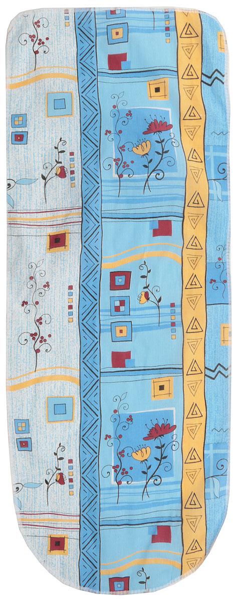 Чехол для гладильной доски Detalle, цвет: голубой, желтый, красный, 125 х 47 см. Е1301Е1301Чехол для гладильной доски Detalle, выполненный из хлопка с подкладкой из мягкого войлокообразного полотна (ПЭФ), предназначен для защиты или замены изношенного покрытия гладильной доски. Чехол снабжен стягивающим шнуром, при помощи которого вы легко отрегулируете оптимальное натяжение чехла и зафиксируете его на рабочей поверхности гладильной доски.Из войлокообразного полотна вы можете вырезать подкладку любого размера, подходящую именно для вашей доски. Этот качественный чехол обеспечит вам легкое глажение. Он предотвратит образование блеска и отпечатков металлической сетки гладильной доски на одежде. Войлокообразное полотно практично и долговечно в использовании.Размер чехла: 125 см x 47 см.Максимальный размер доски: 120 см х 42 см.