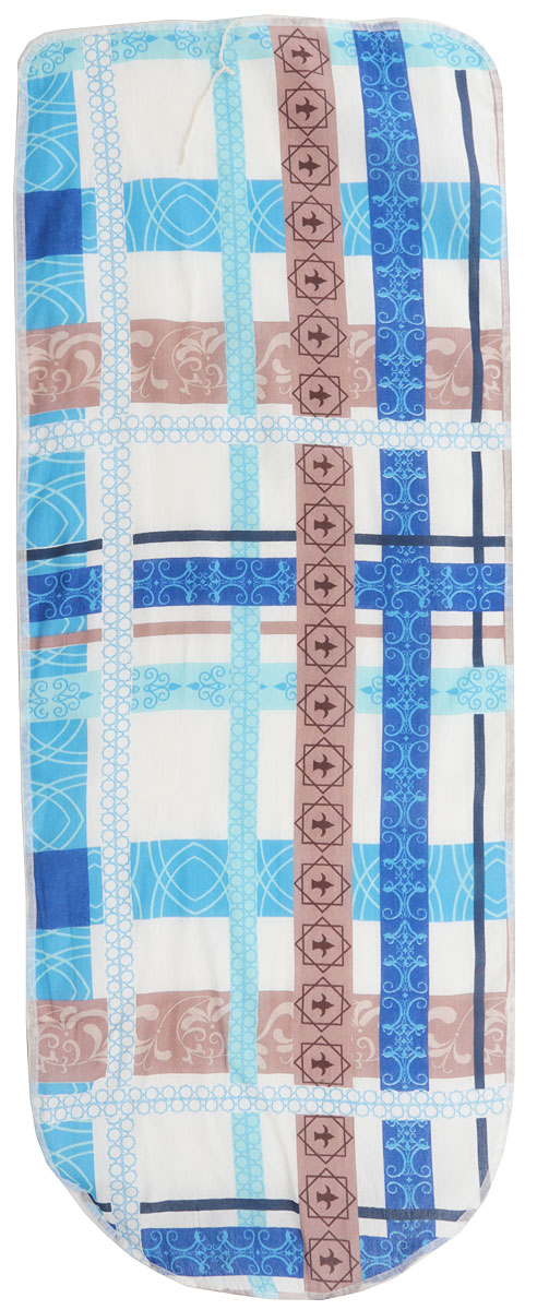 Чехол для гладильной доски Eva Цветы, с поролоном, цвет: синий, белый, коричневый, 125 х 47 смЕ13Чехол Eva, выполненный из хлопка с поролоновым слоем, продлит срок службы вашей гладильной доски. Чехол снабжен стягивающим шнуром, при помощи которого вы легко отрегулируете оптимальное натяжение и зафиксируете чехол на рабочей поверхности гладильной доски. Чехол оформлен красивым узором, что оживит внешний вид вашей гладильной доски.Размер чехла: 125 х 47 см. Максимальный размер доски: 116 х 40 см.