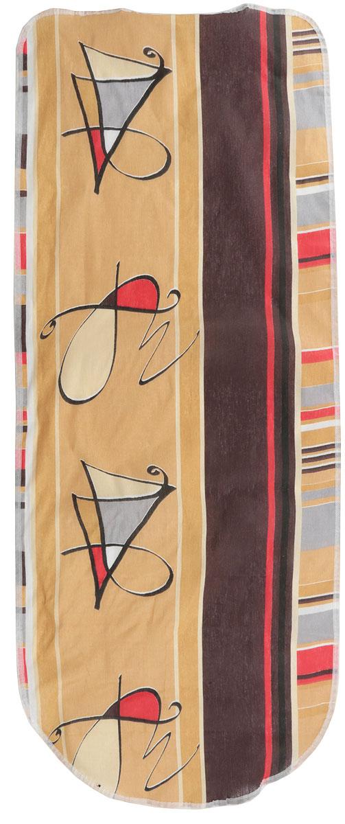 Чехол для гладильной доски Detalle, цвет: бежевый, красный, коричневый, 125 х 47 см. Е1301Е1301Чехол для гладильной доски Detalle, выполненный из хлопка с подкладкой из мягкого войлокообразного полотна (ПЭФ), предназначен для защиты или замены изношенного покрытия гладильной доски. Чехол снабжен стягивающим шнуром, при помощи которого вы легко отрегулируете оптимальное натяжение чехла и зафиксируете его на рабочей поверхности гладильной доски.Из войлокообразного полотна вы можете вырезать подкладку любого размера, подходящую именно для вашей доски.Этот качественный чехол обеспечит вам легкое глажение. Он предотвратит образование блеска и отпечатков металлической сетки гладильной доски на одежде. Войлокообразное полотно практично и долговечно в использовании.Размер чехла: 125 см x 47 см.Максимальный размер доски: 120 см х 42 см.
