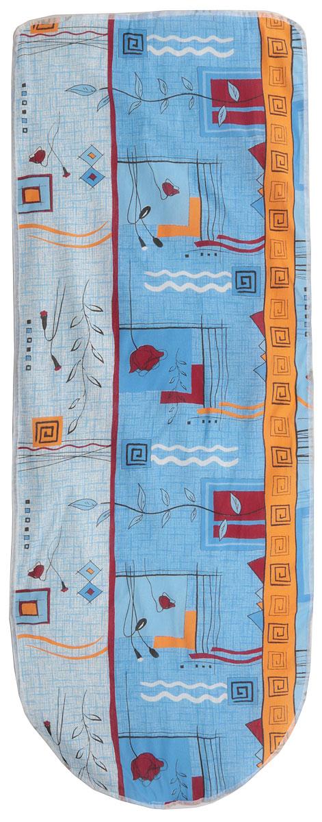 Чехол для гладильной доски Eva Цветы, с поролоном, цвет: голубой, красный, оранжевый, 125 х 47 смЕ13Чехол Eva, выполненный из хлопка с поролоновым слоем, продлит срок службы вашей гладильной доски. Чехол снабжен стягивающим шнуром, при помощи которого вы легко отрегулируете оптимальное натяжение и зафиксируете чехол на рабочей поверхности гладильной доски. Чехол оформлен красивым узором, что оживит внешний вид вашей гладильной доски.Размер чехла: 125 х 47 см. Максимальный размер доски: 116 х 40 см.