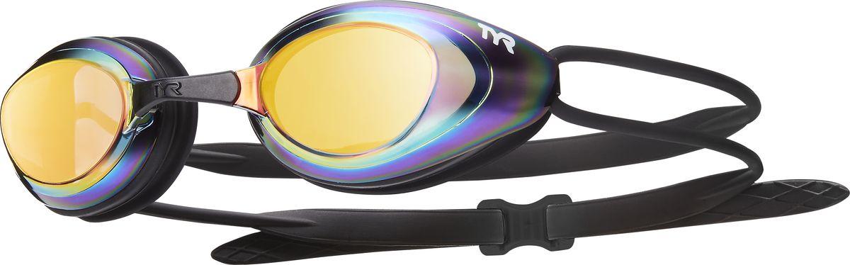 Очки для плавания Tyr Black Hawk Racing Mirrored, цвет: золотой, радужный, черный. LGBHMLGBHMОчки TYR Blackhawk Racing Femme Mirrored с зеркальными линзами разработаны для соревнований, но подойдут и для тренировок. Узкий профиль очков TYR Blackhawk - обеспечивает плотное прилегание и минимальное сопротивление в воде. Легкая, обтекаемая, водонепроницаемая конструкция этих очков, включает фирменный силиконовый уплотнитель TYR Durafit. Линзы обладают широким спектром периферического зрения, ни что не ускользнет от Вашего взгляда. Также в комплекте идут 5 сменных переносиц разного размера. Линзы обработаны раствором антифог