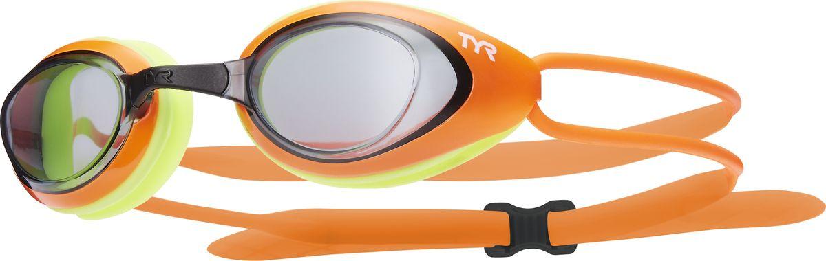 Очки для плавания Tyr Black Hawk Racing, цвет: дымчатый, ярко-ораньжевый, ярко-желтый. LGBHLGBHОчки TYR Blackhawk Racing, разработаны для соревнований, но подойдут и для тренировок. Узкий профиль очков TYR Blackhawk - обеспечивает плотное прилегание и минимальное сопротивление в воде. Легкая, обтекаемая, водонепроницаемая конструкция этих очков, включает фирменный силиконовый уплотнитель TYR Durafit. Линзы обладают широким спектром периферического зрения, ни что не ускользнет от Вашего взгляда. Также в комплекте идут 5 сменных переносиц разного размера. Линзы обработаны раствором антифог