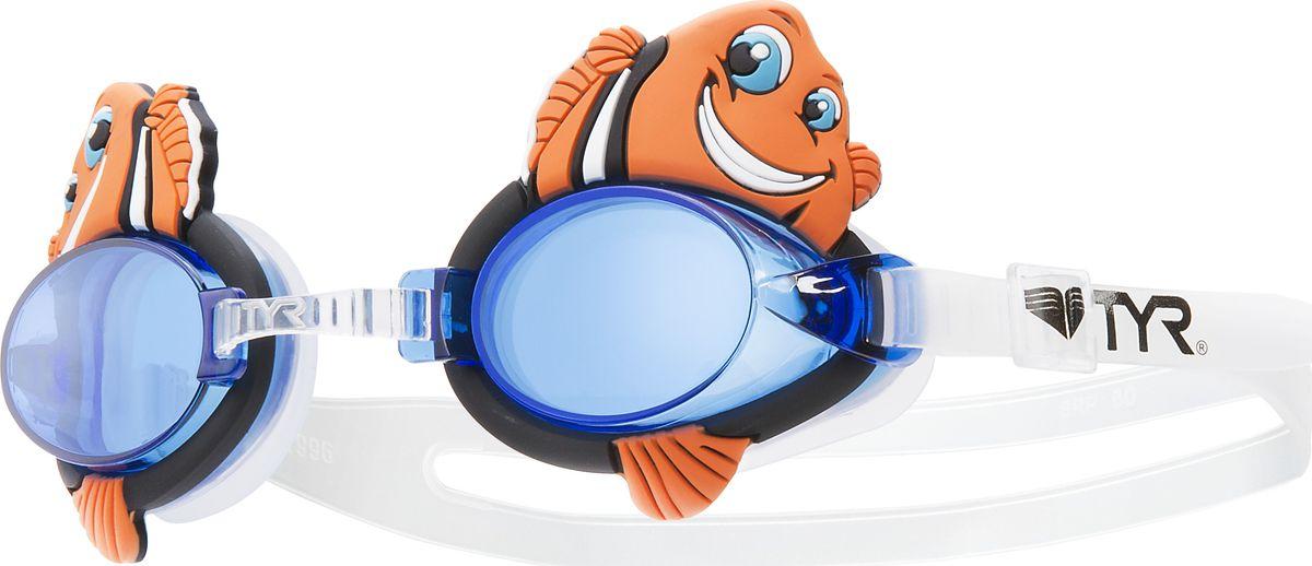 Очки для плавания Tyr CharacTyrs Happy Fish, цвет: оранжевый. LGQHFSHLGQHFSHДетские очки для плавания Tyr CharacTyrs Happy Fish были созданы, чтобы во время плавания ваш ребенок получал исключительно положительные эмоции. Мягкий силиконовый уплотнитель способствует комфортной посадке очков для плавания. Специальные линзы из поликарбоната с защитой от разбития на мелкие осколки покрыты антизапотевающим составом и защищены от ультрафиолетовых лучей. Прикрепленные по бокам пластиковые вставки с изображениями рыбок отвечают европейским требованиям по безопасности. Настраиваемая носовая дужка с пошаговой настройкой. Двойной силиконовый ремешок удобен для использования детьми.