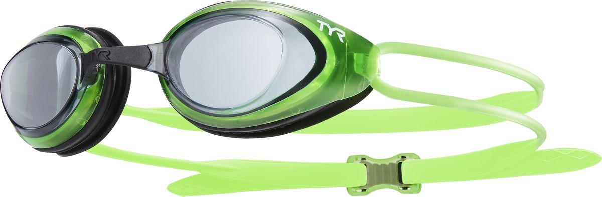 Очки для плавания Tyr Black Hawk Racing, цвет: дымчатый, светло-зеленый, черный. LGBHLGBHОчки Tyr Black Hawk Racing разработаны для соревнований, но подойдут и для тренировок. Узкий профиль очков обеспечивает плотное прилегание и минимальное сопротивление в воде. Легкая, обтекаемая, водонепроницаемая конструкция этих очков, включает фирменный силиконовый уплотнитель Tyr Durafit. Линзы обладают широким спектром периферического зрения, ни что не ускользнет от вашего взгляда. Также в комплекте идут 5 сменных переносиц разного размера. Линзы обработаны раствором антифог.