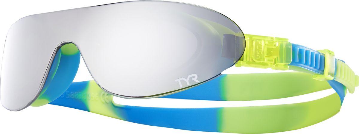 Очки для плавания Tyr Kids Swimshades Mirrored, цвет: серебристый, желтый, голубой. LGSHDMKLGSHDMKКомпания TYR выпустила стильные плавательные очки TYR SWIMSHADES и для самых маленьких пловцов. Внешняя зеркальная монолитная линза напоминает солнцезащитные очки, но при этом данная модель имеет традиционный для плавательных очков уплотнитель, сделанный по форме глаз. Легкая, обтекаемая, водонепроницаемая конструкция этих очков включает фирменный уплотнитель TYR Durafit. Мягкий износостойкий гипоаллергенный силикон, из которого создан уплотнитель, обеспечивает непревзойденный комфорт посадки, сохраняет защиту от протекания и форму в течение всего срока службы. Широкий периферический обзор и обработка линз антифогом обеспечивают оптимальную видимость в воде. Двойной ремешок очков обеспечивает надежную посадку. Удобная система подстройки настолько проста, что ваш ребенок сам сможет отрегулировать длину ремешка без посторонней помощи. В комплекте с очками вы найдете удобный тканевый мешочек для их хранения.Детские очки TYR Kids Swimshades Mirrored идеально подходят для активного отдыха и плавания на открытой воде. Очки протестированы и полностью соответствуют стандартам безопасности детской продукции